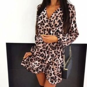 Long Sleeve Leopard Printed Short Mini Dress